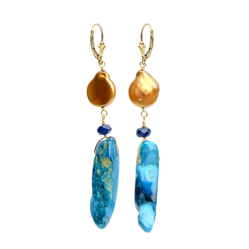Brilliant Blue Agate Golden Fresh Water Coin Pearl Earrings