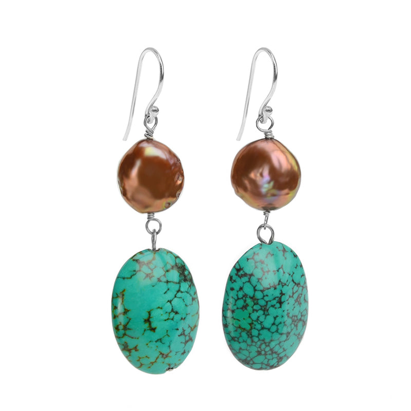 Shimmering Golden Fresh Water Coin Pearl And Bold Chalk Turquoise Earrings