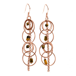 Copper Plated Tiger's Eye Earrings