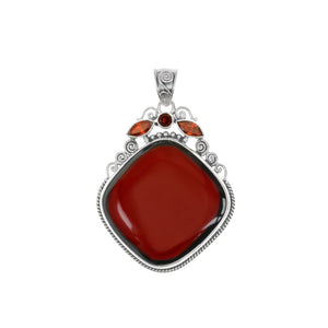 Beautiful Red Sponge Coral With Garnet Accent Stones Sterling Silver Pendant