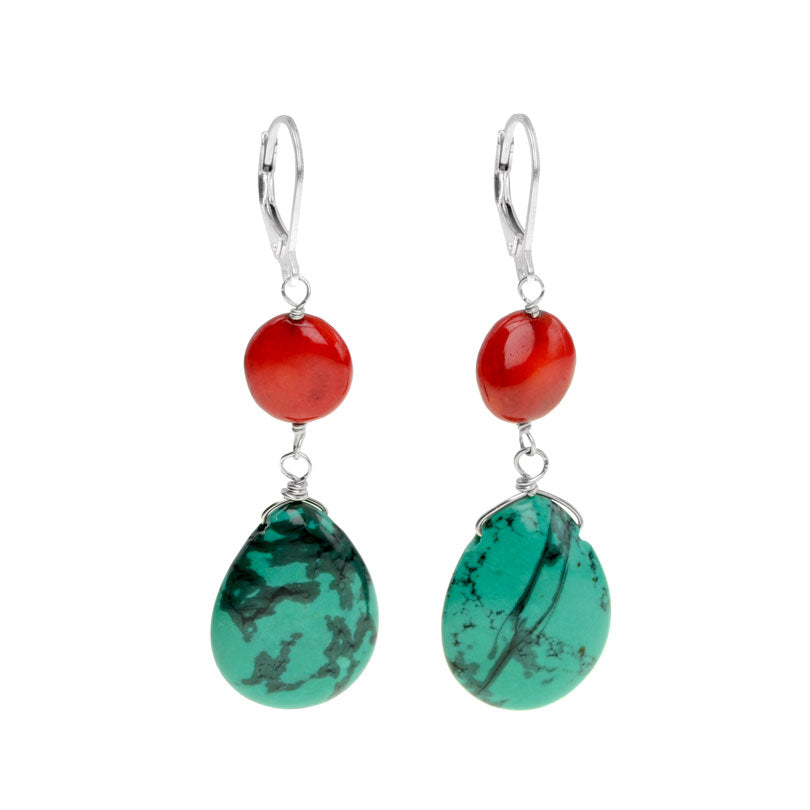 Sassy, Bright Red Coral and Chalk Turquoise Earrings on Sterling Silver Hooks