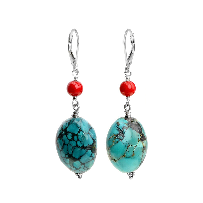 Delightful Large Turquoise Stones and Coral Sterling Silver Statement Earrings