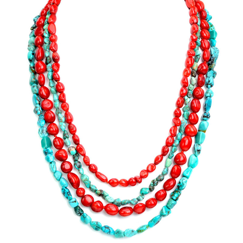Gorgeous Strands of Genuine Turquoise and Coral With Gold Vermeil Hook Clasp Necklace