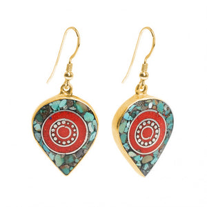 Himalayan Coral and Turquoise Nepal Gold Plated Earrings