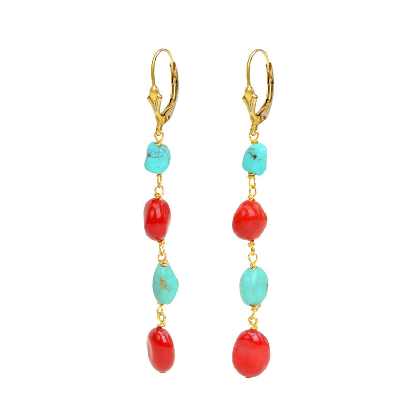 Elegant Petite Coral and Turquoise Earrings With Gold Fill Hooks