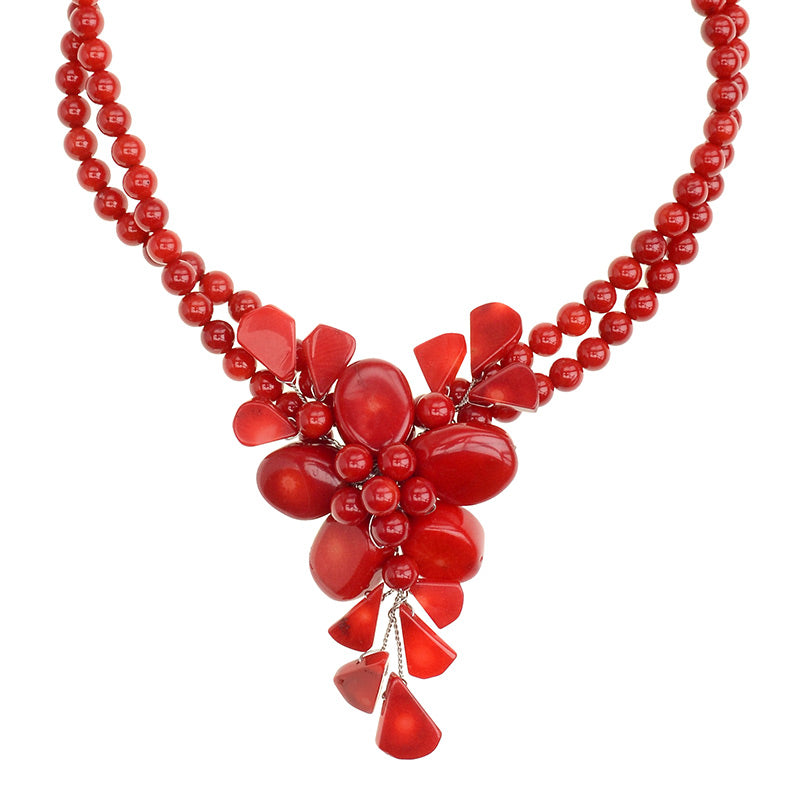 Vibrant Bright Red Coral Flower Sterling Silver Flower Necklace
