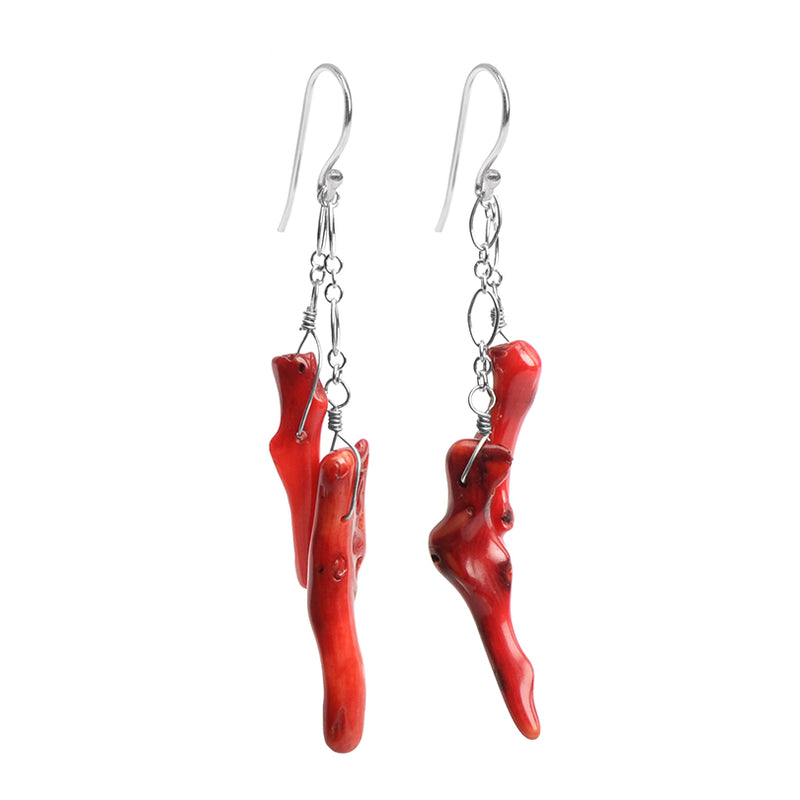 Stunning Red Bamboo Coral Branch Sterling Silver Chain Earrings