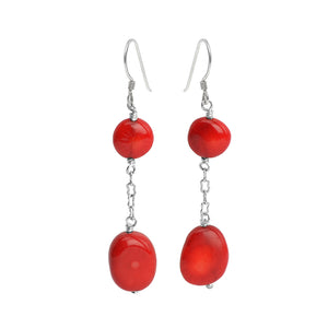 Lovely Small Coral Stones Sterling Silver Earrings