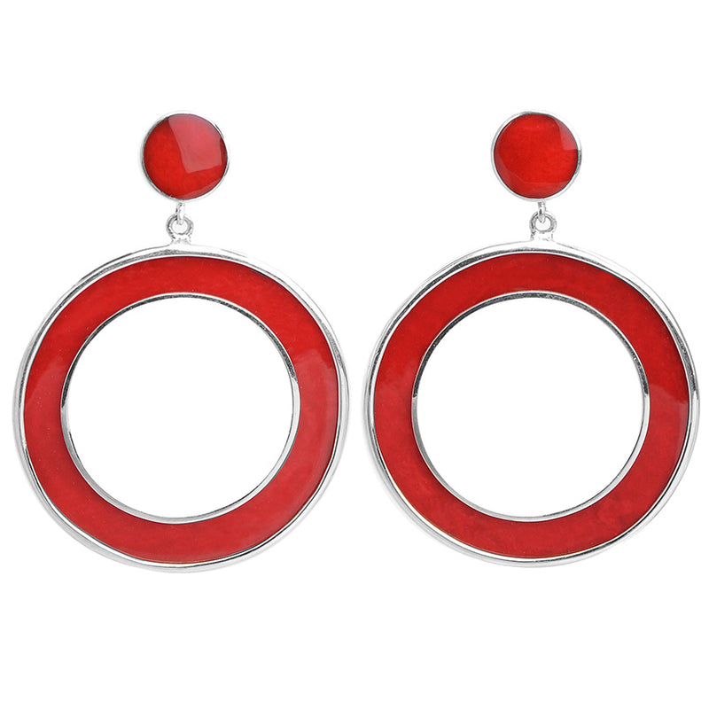 Large Circular Design Coral Sterling Silver Earrings