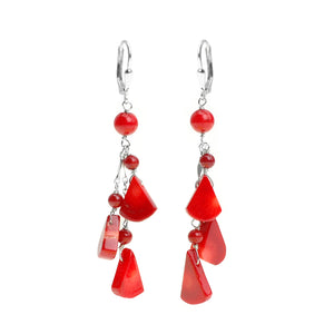 Dazzling Bright Red Coral Sterling Silver Lever Back Earrings