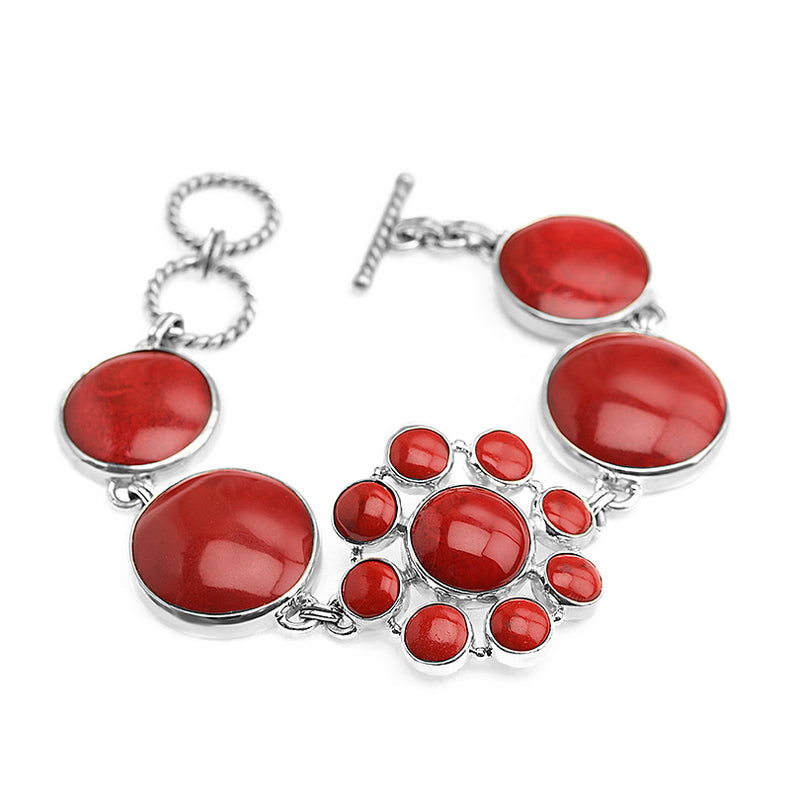Amazing Coral Sterling Silver Bracelet