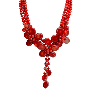 Magnificent 3-Flower Red Coral 3 Flower Sterling Silver Statement Necklace