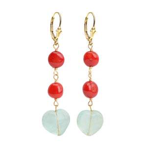 Gorgeous Fluorite Hearts and Coral Gold Filled Earrings