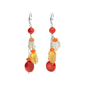 Colorful Coral, Citrine & Carnelian Earrings With Silver Leverback Hooks