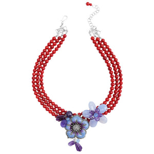 Coral, Amethyst & Chalcedony Sterling Silver Flower Necklace