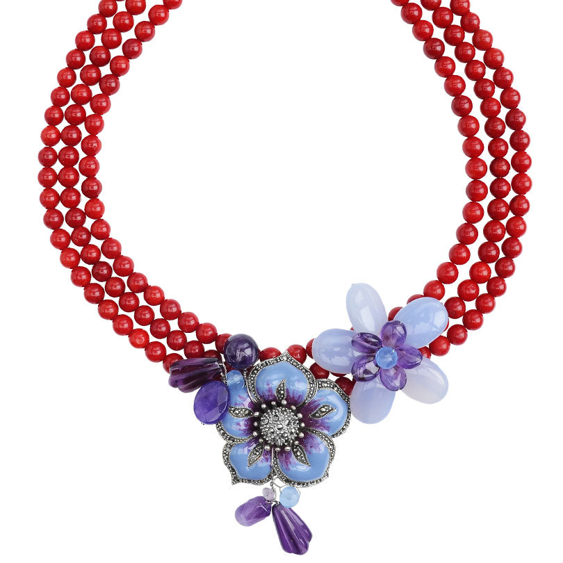 Beautiful Lavender Flowers on Coral Neckline Sterling Silver Flower Statement Necklace