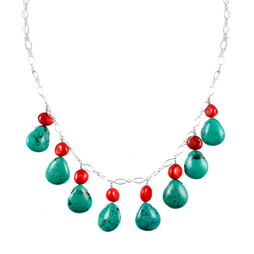 Coral and Turquoise Sterling Silver Necklace
