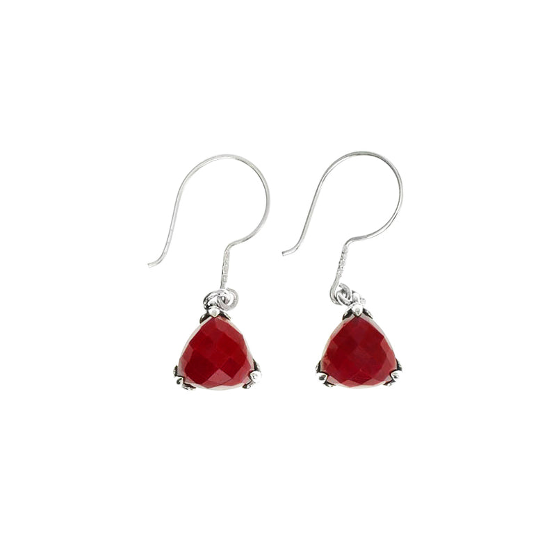 Darling Cranberry Corundum Faceted Stones in Filgree Sterling Silver Earrings
