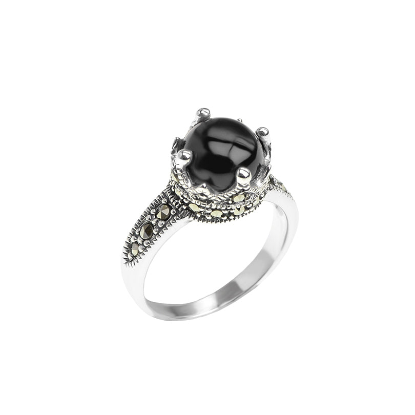 Petite Ball and Crown Marcasite Sterling Silver Ring