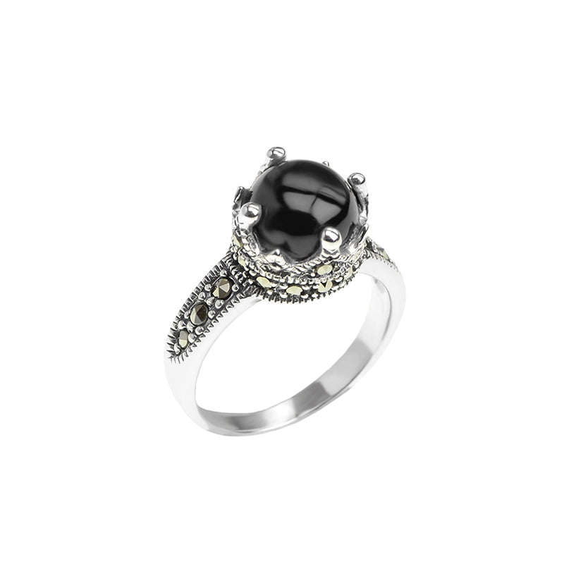Petite Crown Marcasite Sterling Silver Ring