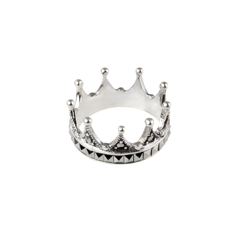 Dramatic Marcasite Sterling Silver Crown Ring