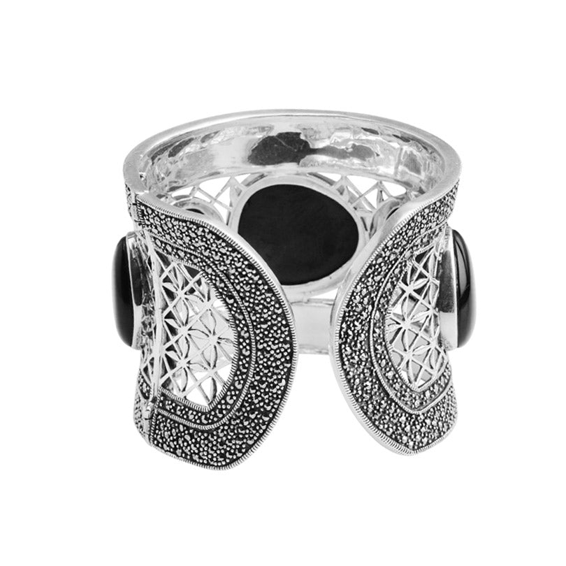 Magnificent Black Onyx and Marcasite Sterling Silver Statement Cuff