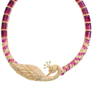 Sparking Crystal Rose Gold Plated Purple & Pink Peacock Collar Necklace