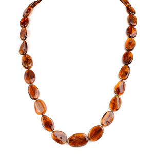 Long Cognac Baltic Amber Beaded Necklace
