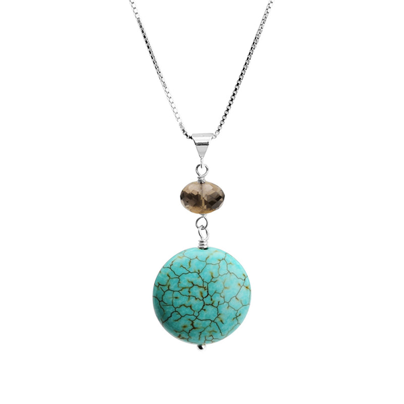 Turquoise and Smoky Quartz Sterling Silver Necklace