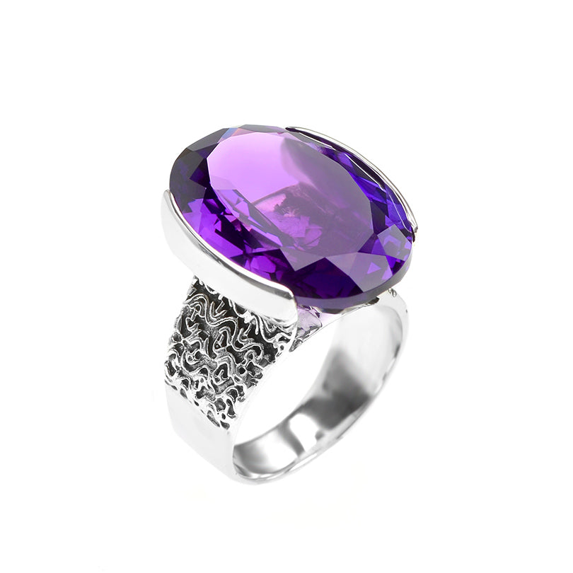 Magnificent deGruchy Large Stone Amethyst Sterling Silver Ring