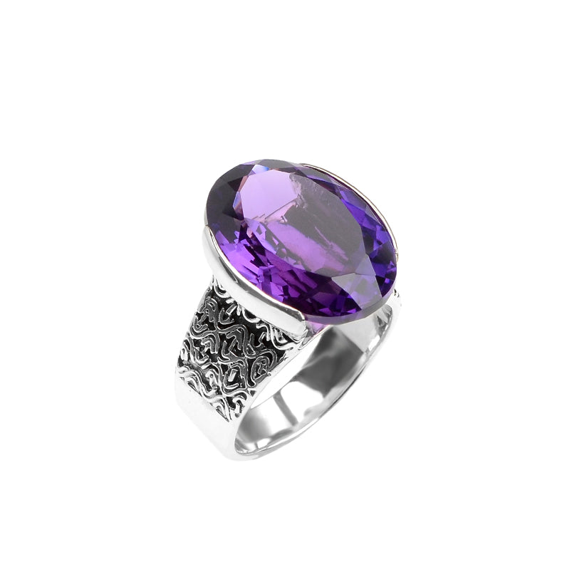 Gorgeous deGruchy Amethyst Quartz Sterling Silver Ring