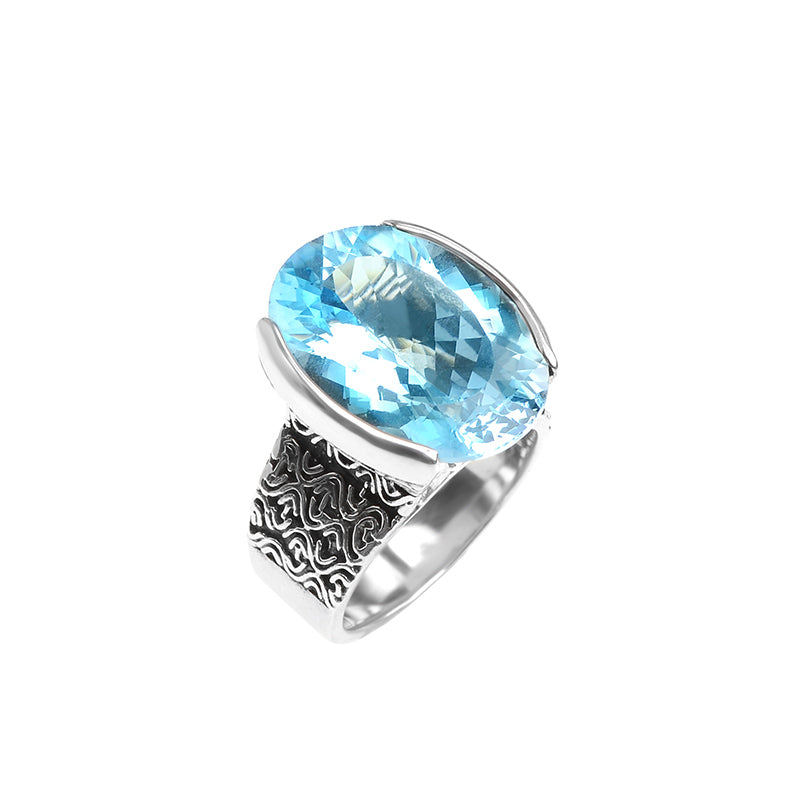Gorgeous deGruchy Sterling Silver Blue Topaz Ring