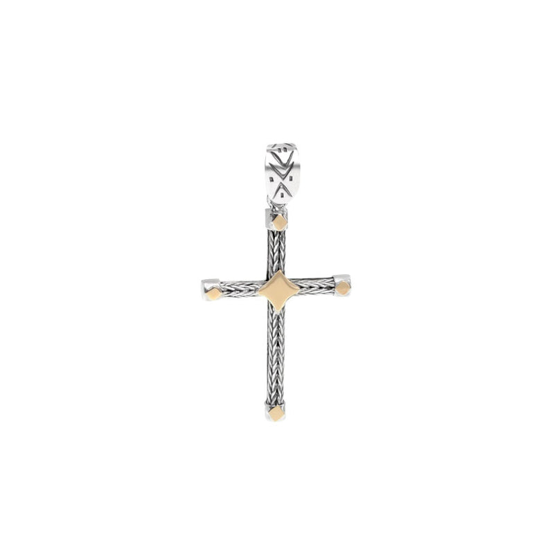 Sterling Silver deGruchy Cross with 9kt Gold Trim