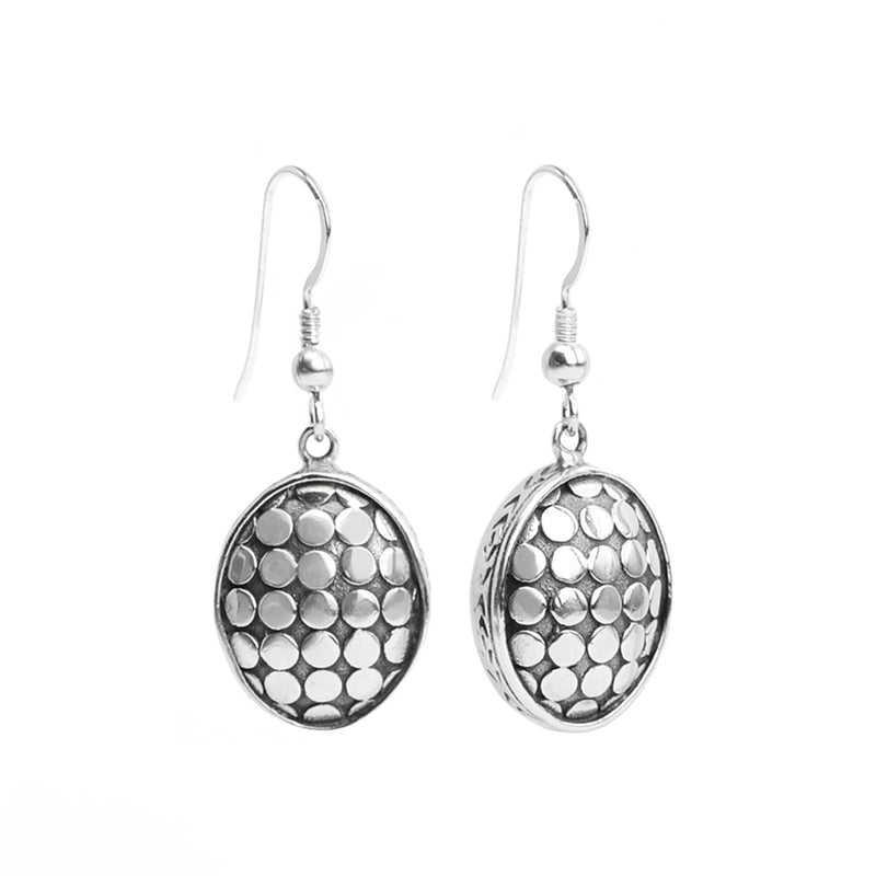 Balinese Designer deGruchy Dotted Sterling Silver Earrings
