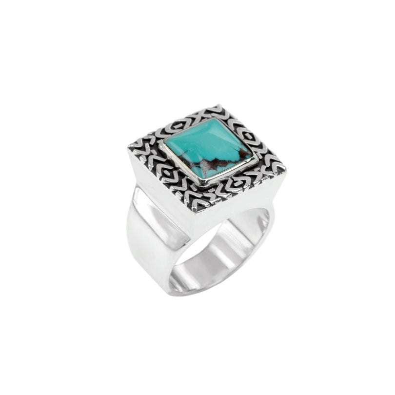 Classic deGruchy Genuine Turquoise Sterling Silver Statement Ring