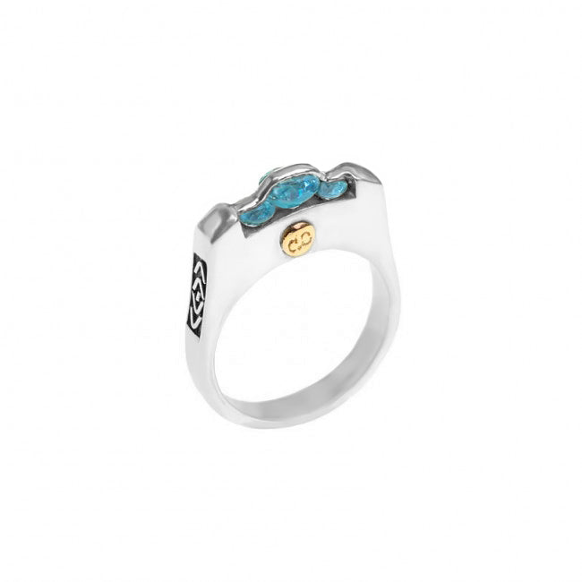 Gorgeous deGruchy Sparkling Blue Topaz Sterling Silver Balinese Design Ring