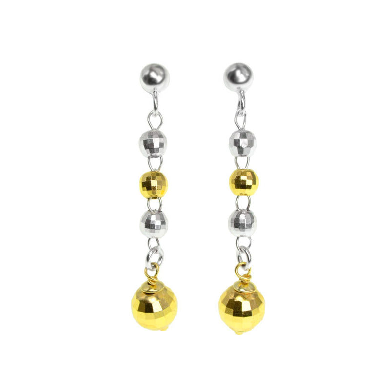 Sparkling Sterling Silver and Gold Plated Sterling Silver  Disco Ball Dangling Italian Earrings