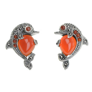 Sterling Silver Marcasite and Carnelian Dolphin Earrings