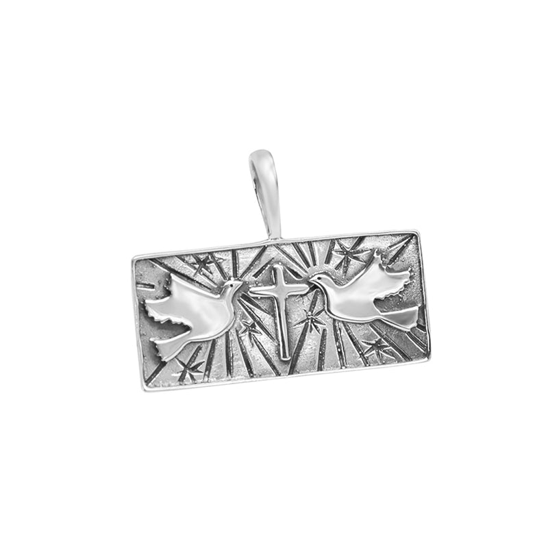 Sterling Silver Dove and Cross Pendant