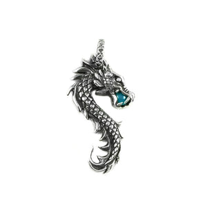 Silver Dragon Pendant with Turquoise in his Jaws