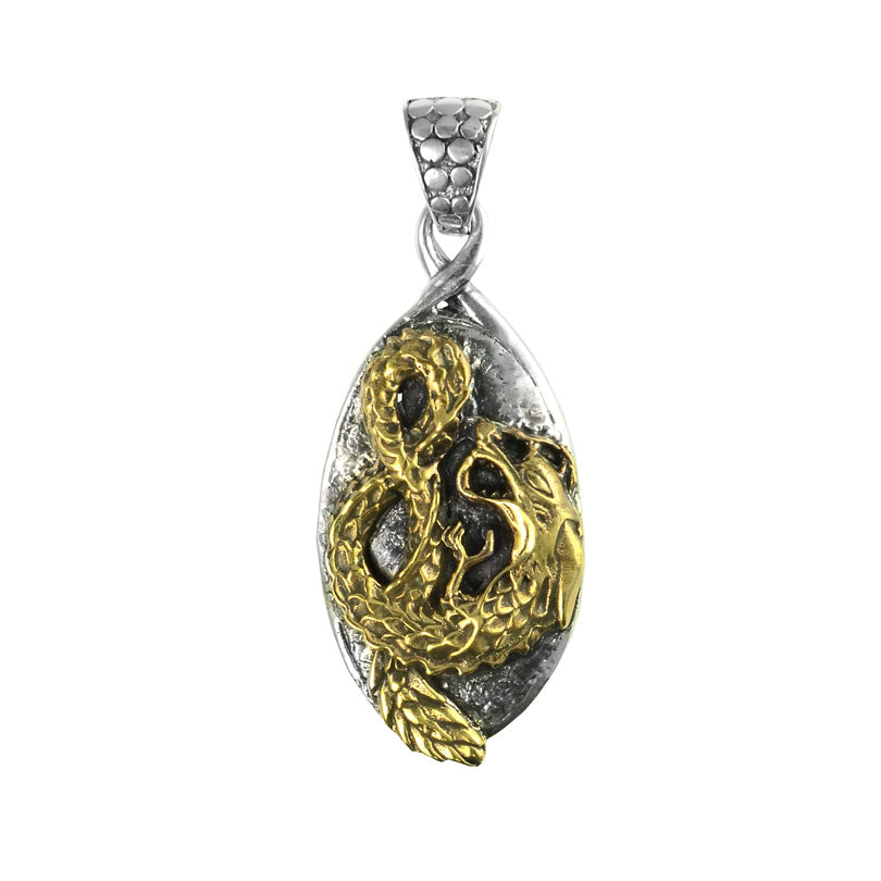 Magnificent Infinity Golden Bronze Dragon Sterling Silver Statement Pendant