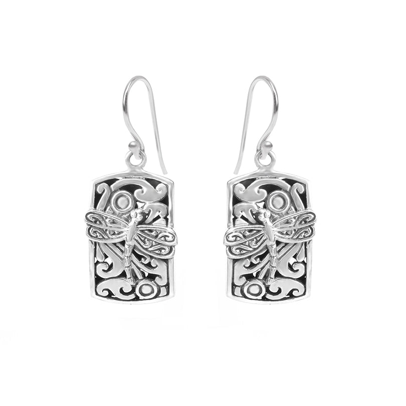 Gorgeous Bali Filigree Dragonfly Sterling Silver Earrings