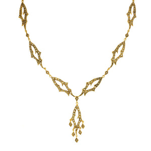 14kt Gold Plated Antique Finish Golden Flame Crystal Necklace