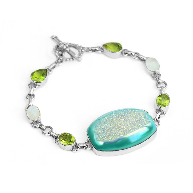 Gorgeous Sparkling Titanium Drusy, Peridot and Moonstone Sterling Silver Bracelet