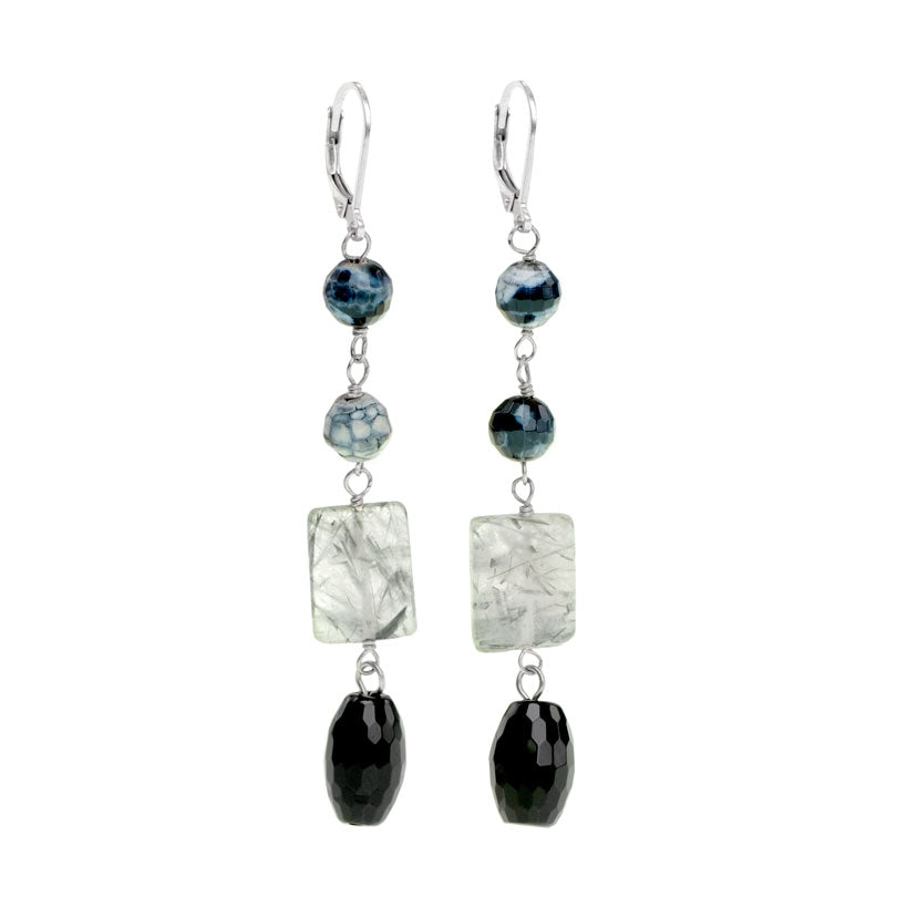 Fashionable Black Onyx, Black Rutilated Quartz Earrings
