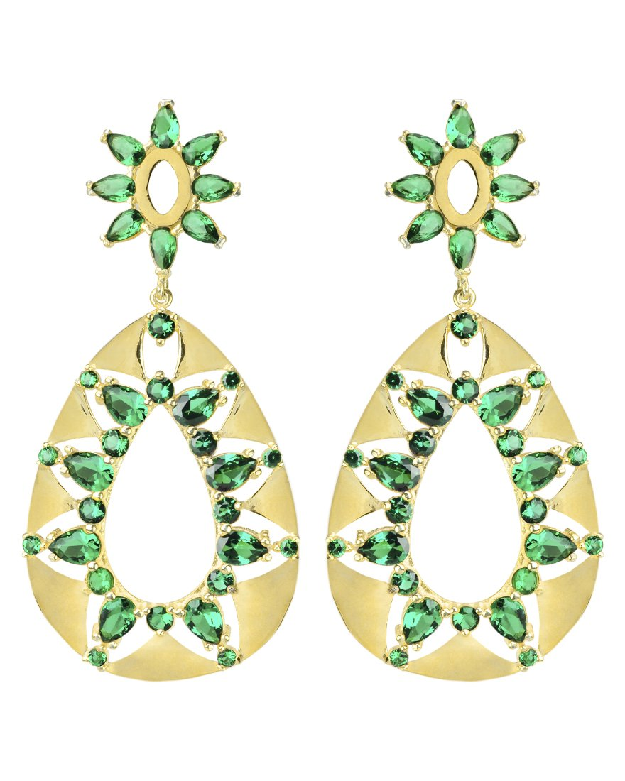 Emerald CZ Gold Plated Statement Earrings