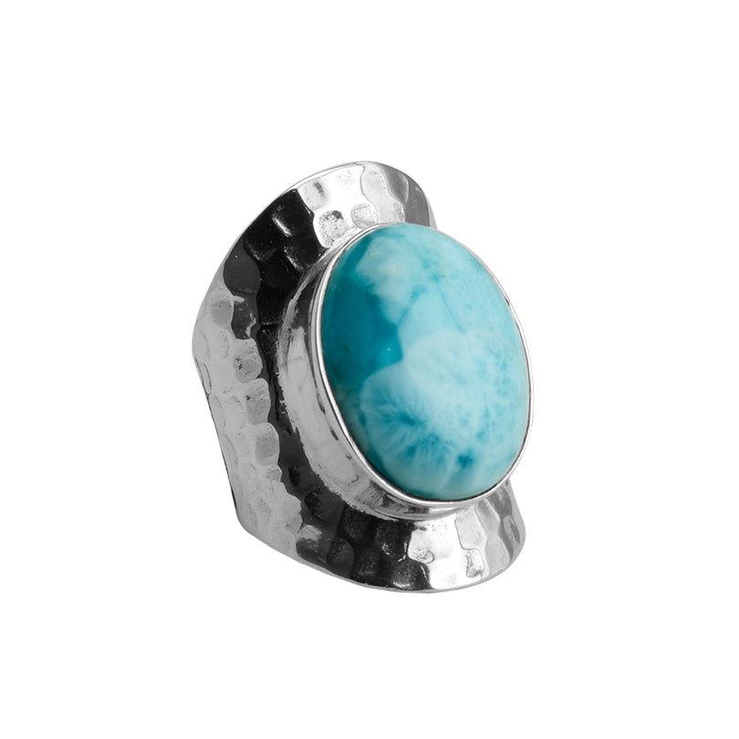 Stunning Larimar Wide Band Sterling Silver Ring