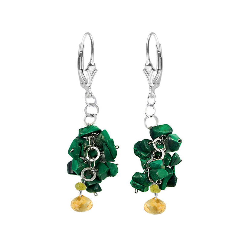 Unique Design Malachite, Faceted Citrine and Peridot  Sterling Silver Earrings
