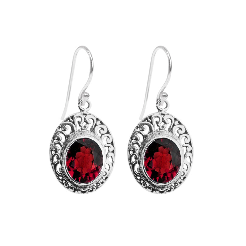 Radiant Red Garnet Balinese Sterling Silver Earrings