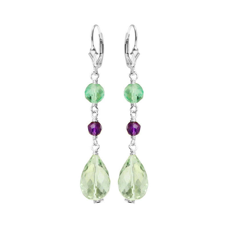 Beyond Beautiful Faceted Green and Purple Amethyst and Fluorite Teardrop Sterling Silver Earrings